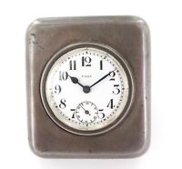 .VINTAGE SOLID STERLING SILVER SWISS KEY WIND 8 DAY TRAVEL / BEDSIDE CLOCK.