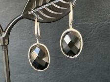 925 Sterling Silver Black Onyx Earrings Gemstones Drop Round Oval Faceted