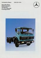 Mercedes 2222 6x2/4 Pritsche Prospekt Technische Daten  LKW 7/84 1984