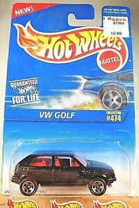 1995 Hot Wheels Blue/White Card #474 VW GOLF Black wo/Tampo Variant w/Lace Spoke