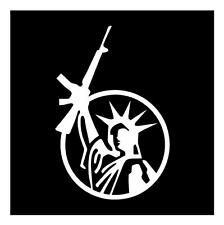STATUE OF LIBERTY ASSAULT RIFLE GUN RIGHTS 4x7 VINYL CAR WINDOW DECAL STICKER