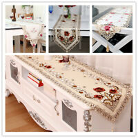 Tasseled Edge Table Runner Embroidered Floral Lace Wedding Party Tabletop Decor