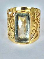 Prasiolit Ring, 925 Silber vergoldet, Gr.55