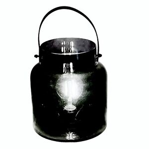 Black Nordic Lights Glass Container With Light Bulb & Brown Handle