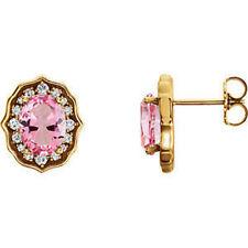 14 Quilates amarillo rosa pastel TOPACIO Y 1/3ct. Tw. Diamante Pendientes Con