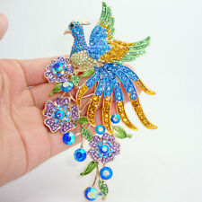 brooch pins pendant crystal rhinestones Luxury colorful peacock bird animal