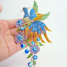 Luxury colorful peacock bird animal  brooch pins pendant crystal rhinestones