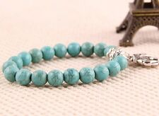 Fashion New Classical Natural hot Turquoise beads tibet silver charms Bracelet