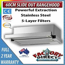 60 cm Slide Out/ Pull Out RangeHood Stainless Steel Telescopic 2 Year Warranty!