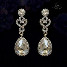 18K Gold Plated GP Topaz Crystal Rhinestone Wedding Drop Dangle Earrings 00016