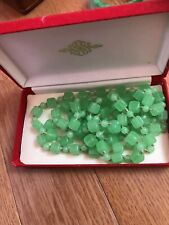 Antique Green Glass Necklace, With Box