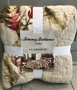 3-Pc Tommy Bahama Full-Queen Tanzania Quilt Set Tropical Beach Floral Beige Rust