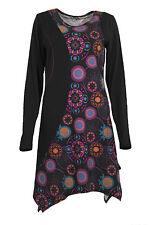 NEU Farbe Mode 8 -16 schwarz braun lila ethnisch Boho Hippie eine Linie Tunika