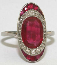 1.95cts ROSE CUT DIAMOND RUBY ANTIQUE VICTORIAN LOOK 925 SILVER COCKTAIL RING