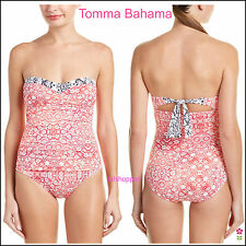 NWT $148 14 TOMMY BAHAMA Coral Medallion One Piece Bandeau Shirred Swimsuit