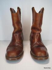 LEHIGH 7.5 VTG Leather Steel Toe Flag Lightning Bolts Brown Cowboy Moto Boots