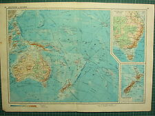 1955 LARGE RUSSIAN MAP ~ PACIFIC OCEAN AUSTRALIA NEW ZEALAND PHILIPPINE TASMANIA