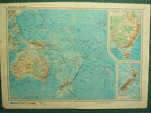 1955 LARGE RUSSIAN MAP ~ PACIFIC OCEAN AUSTRALIA NEW ZEALAND PHILIPPINE TASMANIA