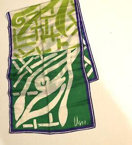 Vintage Vera Neumann Silk Scarf~green, white, purple Made in Japan