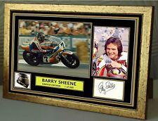 """Barry Sheene Motor Cycle legend gold Framed Canvas Signed """"Great Gift"""""""