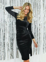 COAST NEW Dakota Velvet Midi Dress in Black Sizes 6 to 20