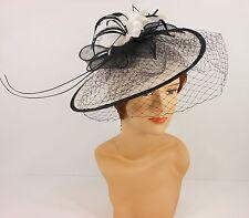 New Church Derby Cocktail Sinamay Fascinator Hat w veil headband 3624 Off White