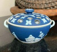 c.1900 Wedgwood Dark Blue Jasperware Potpourri Lidded Bowl England - Excellent