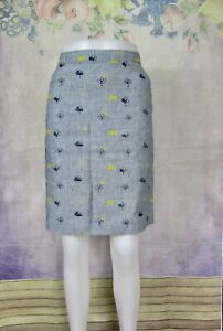 WHITE STUFF blue pinstriped pencil skirt with floral embroidery size 10