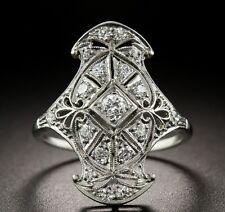 Vintage Art Deco 1.23Ct White Round Cut Diamond Engagement Wedding Dinner Ring
