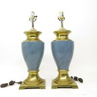 Vintage Pair Hollywood Regency Footed Brass & Blue Trophy Urn Table Lamps