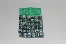 Chessex Black Grey with Green 36 Gemini 12mm Pipped Dice CHX 26845