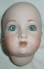 """Vintage 5"""" Byron Molds BISQUE DOLL HEAD Pretty Face w/Icy Blue Glass Eyes 1986"""