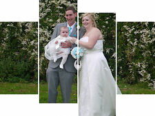 Large 4 Panel Personalised Picture Photo On Canvas Printed On Premium Canvas