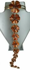 PILGRIM Choker Necklace Clover FLOWER Vintage Gold Orange Swarovski Enamel BNWT