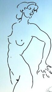 "Drawing original ink 23x16"" Modern nude female contemporary Art  minimalism"