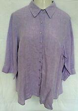Coldwater creek Women's Purple Linen Long shirt top Tunic Blouse 2X (22/24) plus
