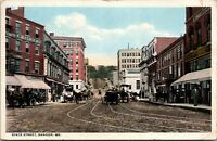 Postcard Bangor Maine c.1915-1930 State Street Horses Buggy Store Fronts Old Car