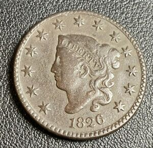 1826 Coronet Head Large One Cent 1C Copper Coin, US Mint Circulated, VF DETAILS