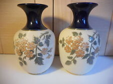 ANTIQUE LOVATTS LANGLEY MILL PAIR OF CREAM AND BLUE BLOSSOM VASES 1916