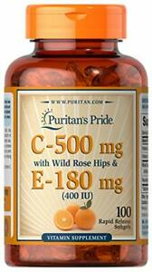 Vitmain C 500 mg & E 180 mg with Rose Hips for Immune & Antioxidant Support by