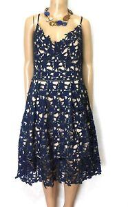 "City Chic spectacular crochet lace dress, sz. XS/14, dark blue ""SHOWTIME!"""