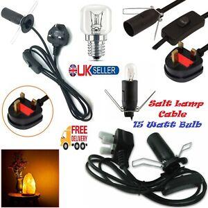 Salt Lamp Fitting Replacement Cable 15W Watts Bulb B Cord Set UK 3 Pin Plug Lead
