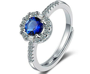 Blue Crystal Adjustable Ring 925 Sterling Silver Womens Girls Jewellery Gifts UK