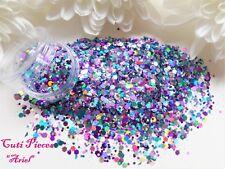 Nail Art *Princess Ariel* Blue Purple Hexagon Holographic Mix Glitter Dust Pot