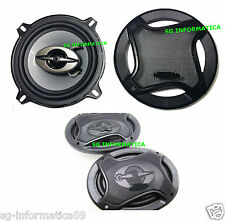 KIT COPPIA CASSE AUTO 300W 2 VIE 13CM TWEETER ALTOPARLANTI STEREO SUB WOOFER 13