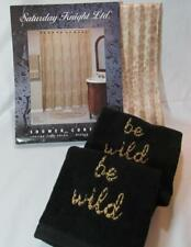 Jungle Bathroom SAFARI Animal Print Shower Curtain & BE WILD Black Hand Towels