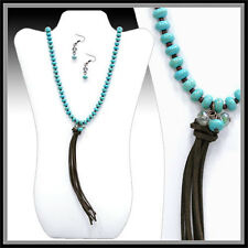 LONG HOWLITE TURQUOISE DISQ BEADS BROWN SEED LEATHER TASSEL NECKLACE CRYSTAL SET