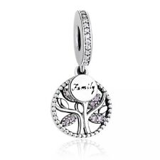 925 Sterling Silver Pink CZ Family Heritage Tree Of Life Pendant Charm - Mum 💕