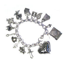 Love Alice In Wonderland the Story Book Silver Plated Charm Bracelet