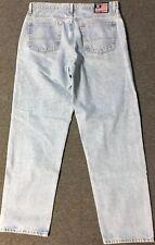 Vtg 90s Polo Ralph Lauren Flag Jeans 36/34 Blue Sport Loose Fit 92 USA 867 Bear